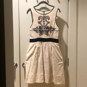 Anthropologie Cream Dress with Embroidery detail
